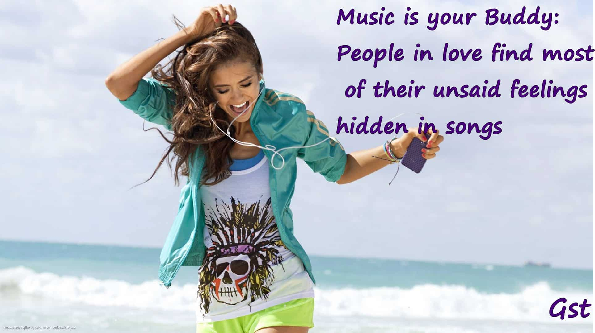 Music-Girl-At-Beach-Wallpapers