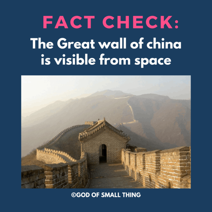 Common Misconceptions in primary science:  The Great wall of china is visible from space