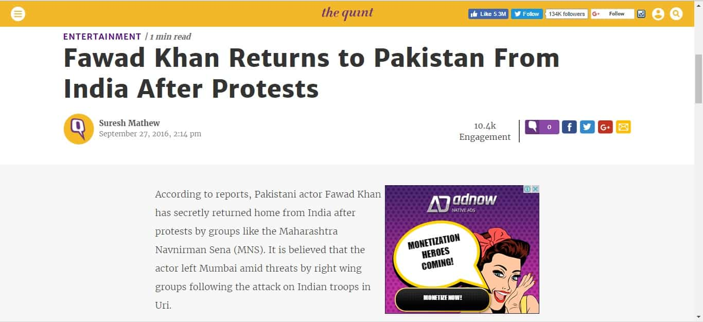 Screenshot Of the Post at Thequint.com