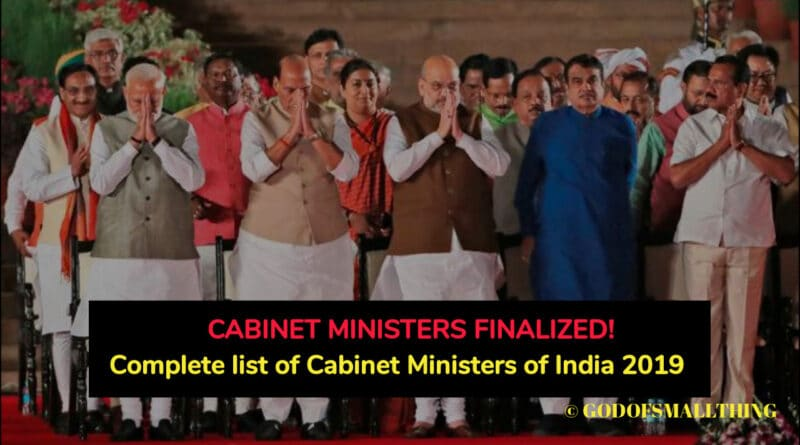 Complete list of Cabinet Ministers of India 2019