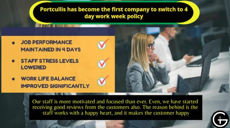 Portcullis has become the first company to switch to 4 day work week policy in UK | God of Small Thing