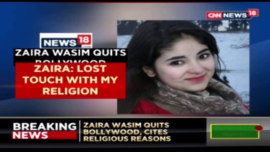 "Actress Zaira Wasim quits Bollywood says ""Damaged My Relationship With Allah"""