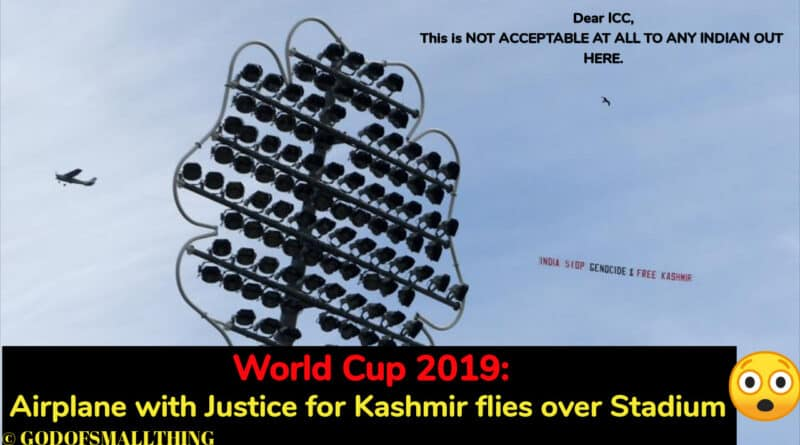 Airplane with Justice for Kashmir flies over Stadium