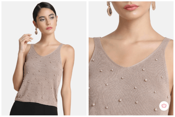 Fashion steals from Gossip Girl: Kazo women beige embellished top from Myntra.