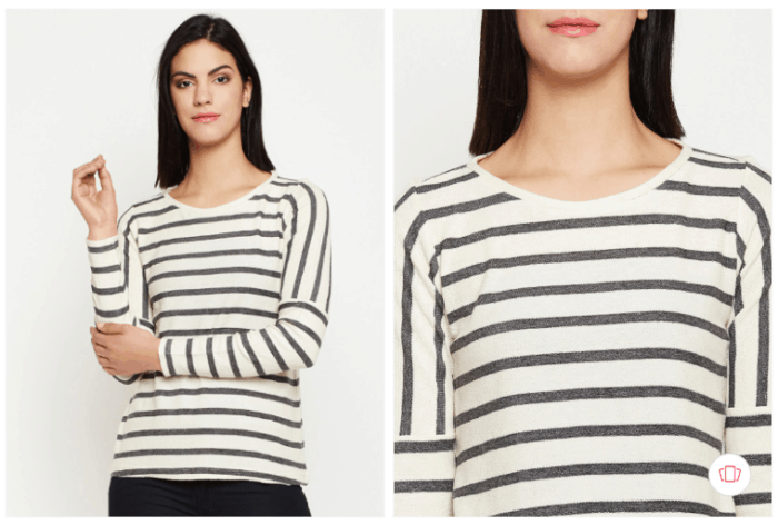 Gossip Girl Fashion:  nun-women black striped top from Myntra.