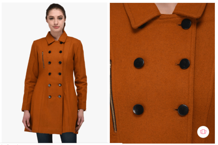 Fashion steals Onwcraft tan longline peacoat from Myntra.