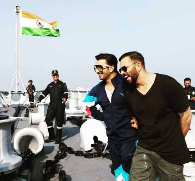 Rohit Shetty and ranveer singh with indian navy