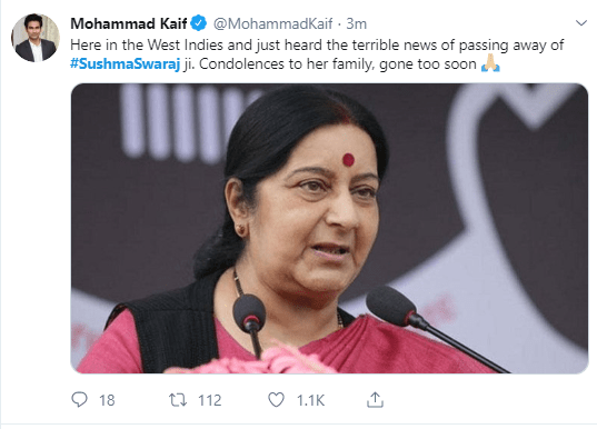 Twitter has already flooded with messages of condolence for Sushma Swaraj