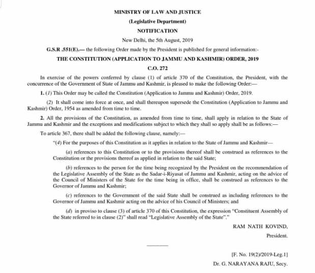 Official Notification about Article 370 signed by President