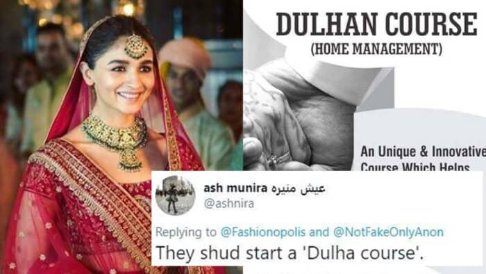 Hyderabad Institute Offers Dulhan Course twitter reacts