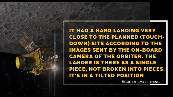 Latest Info on Vikram lander The lander is lying in a tilted position Chandrayaan 2 latest information