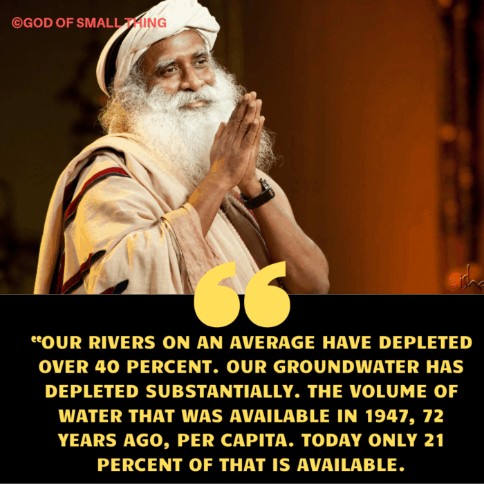 solution to water crisis in India by Sadhguru jaggi vasudev
