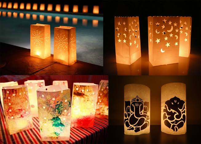 Diwali decoration ideas Paper lampshades