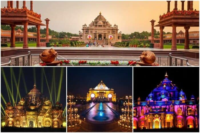 Akshardham Temple during night. Best places to visit in Delhi with family: Akshardham Temple