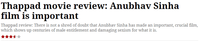 thappad movie review indian express