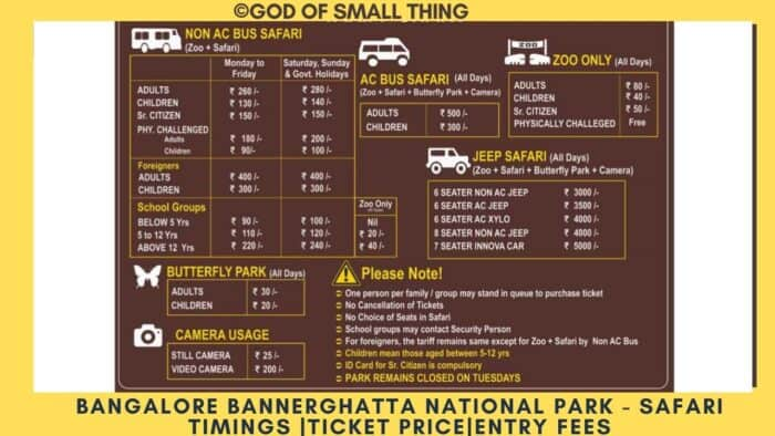 Bannerghatta National Park ticket price