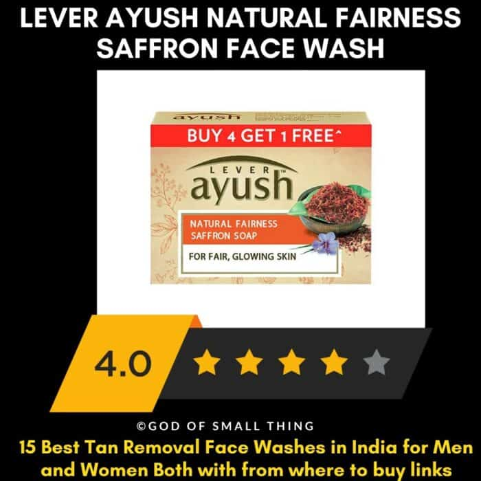 Best Tan Removal Face Wash in India Lever Ayush natural fairness saffron face wash