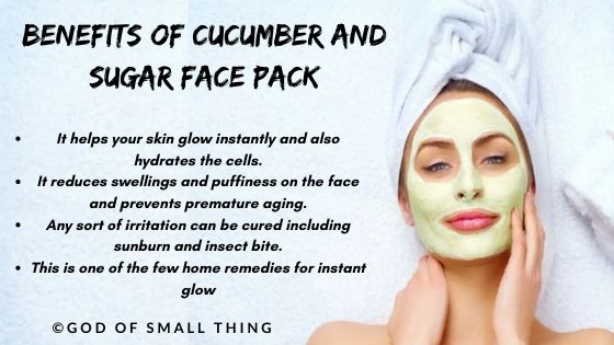 home remedies for instant glow Cucumber and sugar face pack