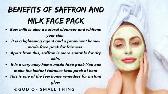 home made face pack: Saffron and milk face pack