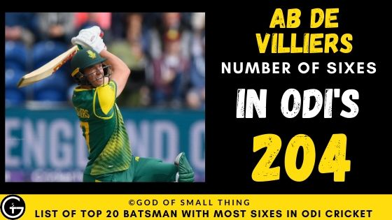 Number of Sixes by AB de Villiers
