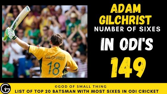 Number of Sixes by Adam Gilchrist