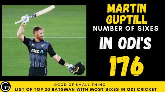 Number of Sixes by Martin Guptill