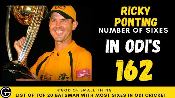 Number of Sixes by Ricky Ponting