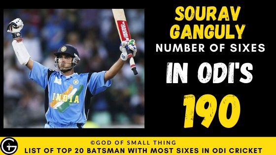 Number of Sixes by Sourav Ganguly