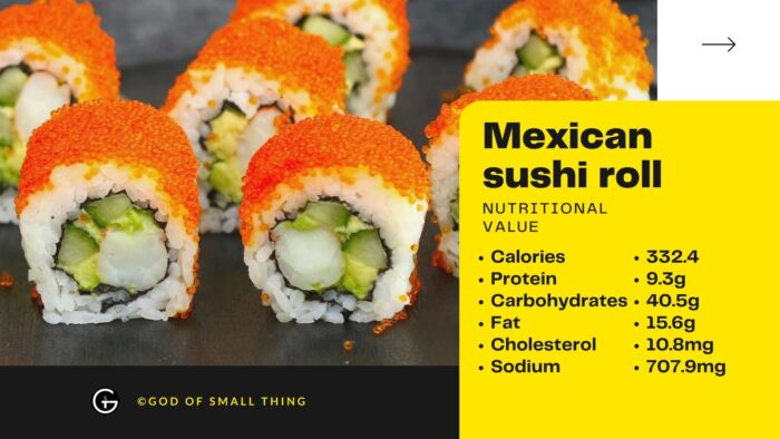 Mexican sushi roll Nutritional value