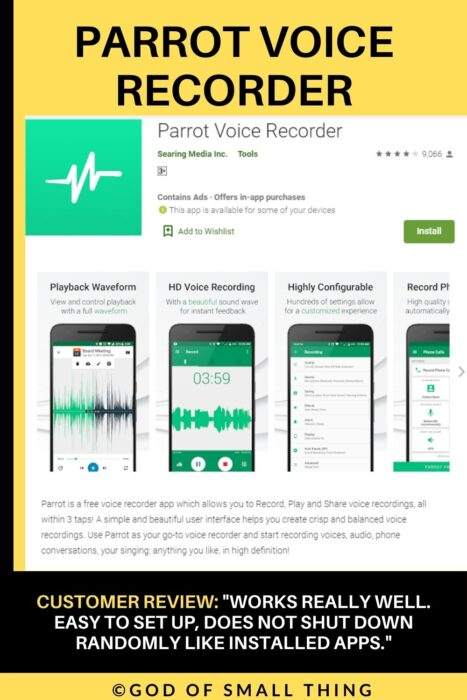 Parrot voice recorder call recording app