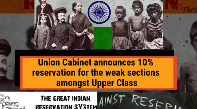 Union cabinet today announced a 10% reservation for the economically backward weak amongst the upper caste.