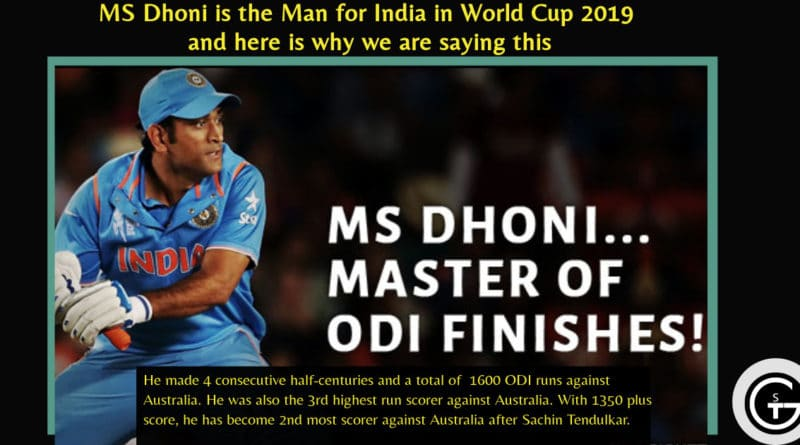 MS Dhoni is the Man for India in World Cup 2019