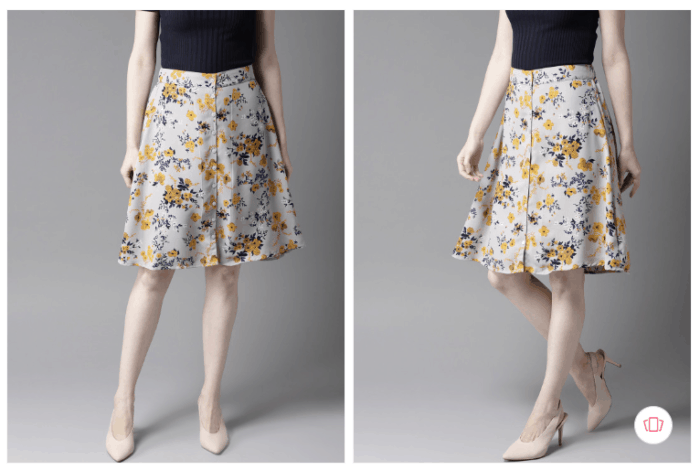 Fashion steals from Gossip Girl: women grey navy blue floral print skirt from Myntra