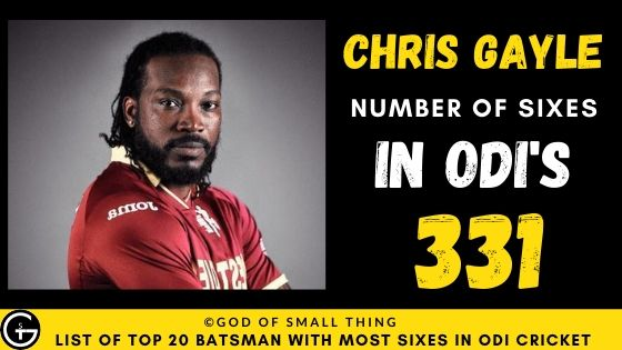 Number of Sixes by Chris Gayle