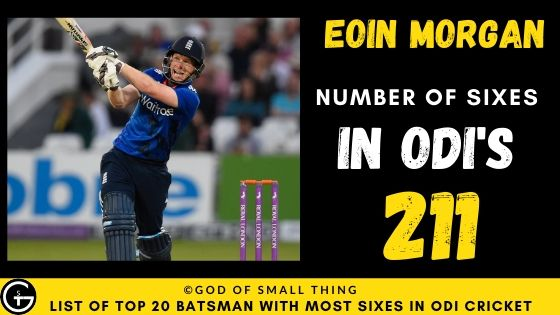 Number of Sixes by Eoin Morgan