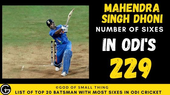 Number of Sixes by Mahendra Singh Dhoni