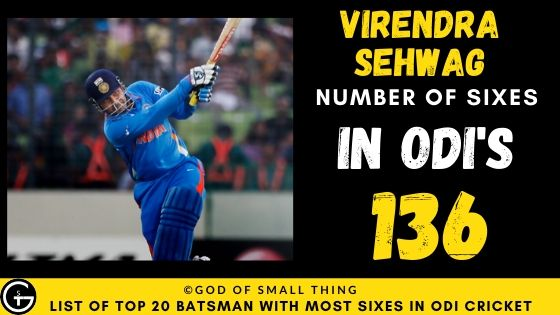Number of Sixes by Virendra Sehwag