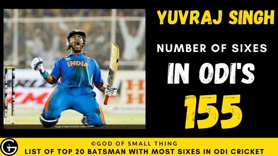 Number of Sixes by Yuvraj Singh